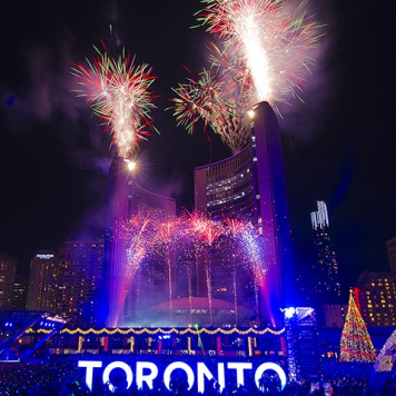NOVEMBER 29, 2015, TORONTO; The 49th annual Cavalcade of Lights celebration presented by Great Gulf kicked off the holiday season on Saturday night, This holiday tradition at Nathan Phillips Square featured the first illumination of Toronto's official Christmas Tree, performances by some of Canada's top musical talent, a spectacular fireworks show and skating parties.